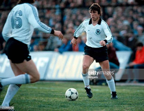 Klaus Fischer of Germany in action during the friendly match between Norway and Germany on May 12 1982 in Oslo Norway