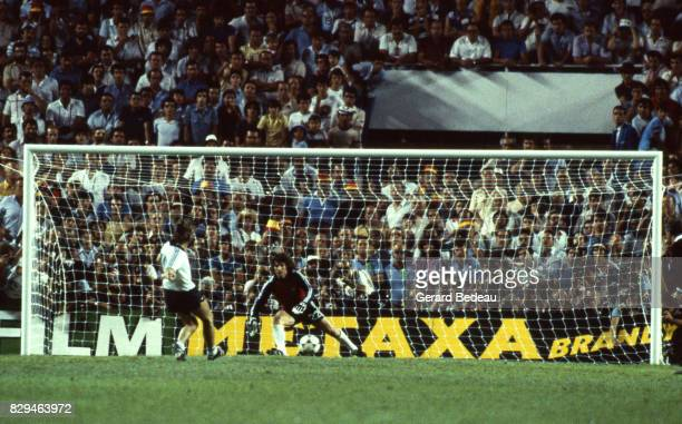 Klaus Fischer of Germany score a penalty Jean Luc Ettori of France during of the game Semi Final World Cup match between West Germany and France 8th...