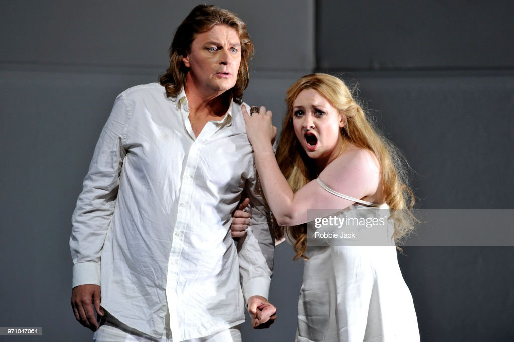 30** Klaus Florian Vogt as Lohengrin and Jennifer Davis as Elsa von Brabant in Richard Wagner's Lohengrin directed by David Alden and conducted by Andris Nelsons at the Royal Opera House on June 4, 2018 in London, England.