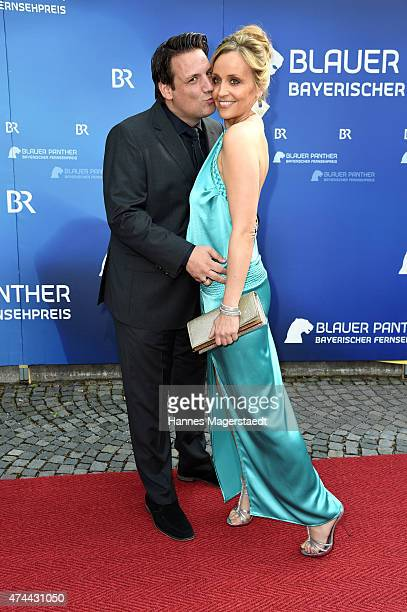 Klaus Gronewald and his wife Sandra Maria Gronewald arrive for the Bayerischer Fernsehpreis 2015 at Prinzregententheater on May 22 2015 in Munich...