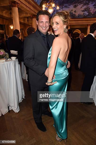 Klaus Gronewald and his wife Sandra Maria Gronewald attend the Bayerischer Fernsehpreis 2015 at Prinzregententheater on May 22 2015 in Munich Germany