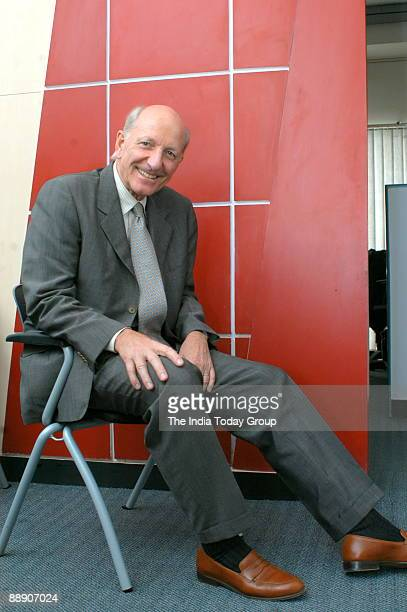 Klaus J Jacobs Chairman Addeco poses at office in Bangalore India Potrait Sitting