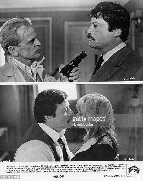 Klaus Kinski holds a gun to Oliver Reed in a scene Oliver Reed and Susan George get close in a scene from the Paramount Picture movie Venom circa 1981