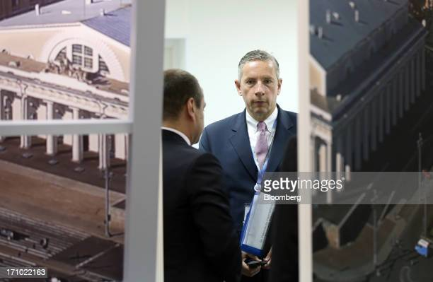 Klaus Kleinfeld chief executive officer of Alcoa Inc arrives for a news conference on day two of the St Petersburg International Economic Forum 2013...