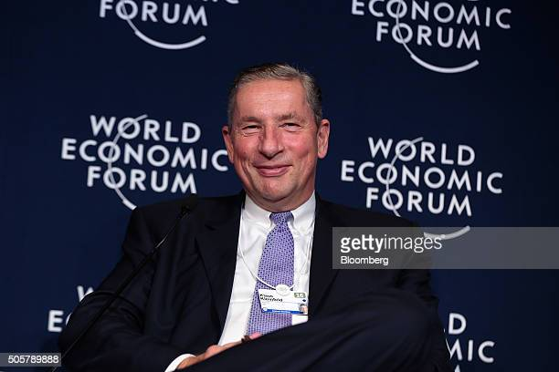 Klaus Kleinfeld chief executive officer of Alcoa Inc looks on during a panel session at the World Economic Forum in Davos Switzerland on Wednesday...