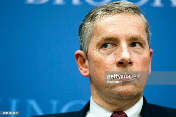 Klaus Kleinfeld president and chief executive officer of Alcoa Inc listens during an event at the Brookings Institute in Washington DC US on...