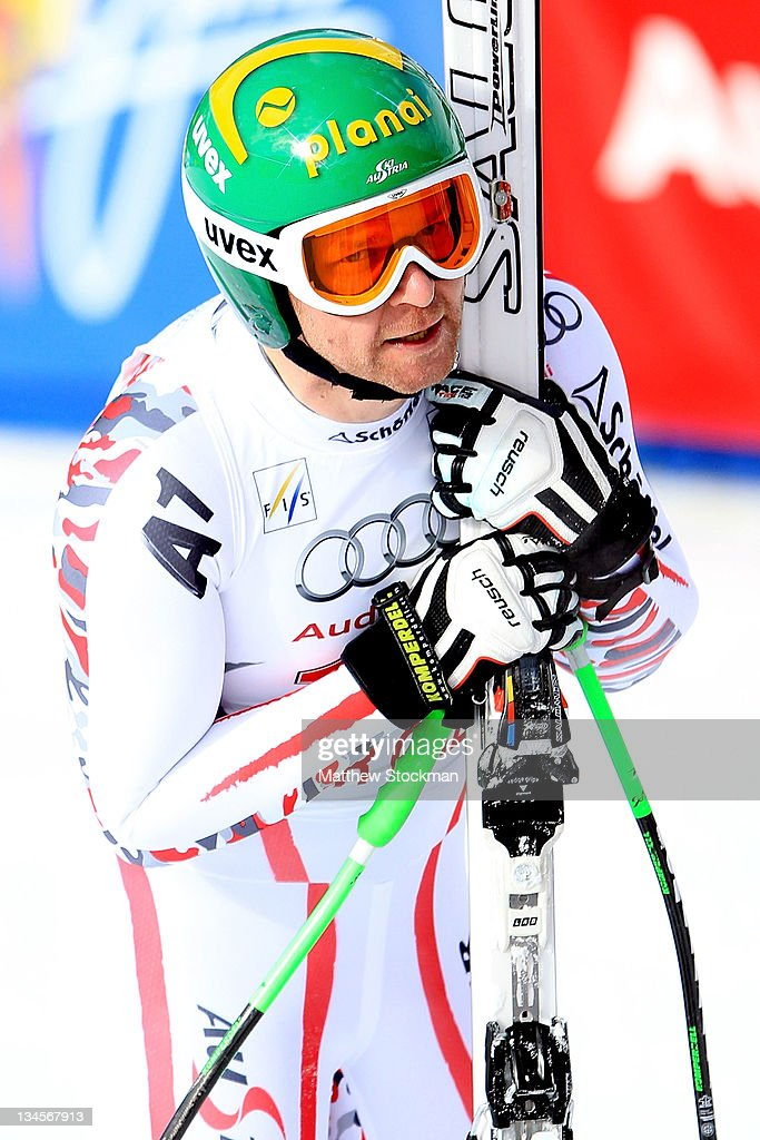 Klaus Kroell #18 of Austria catches his breath after crossing the finish line during the men's downhill on the Birds of Prey at the Audi FIS World Cup on December 2, 2011 in Beaver Creek, Colorado.