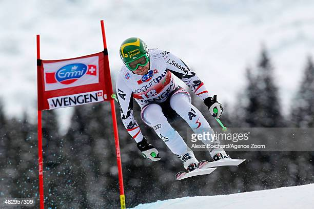 Klaus Kroell of Austria competes during the Audi FIS Alpine Ski World Cup Men's Downhill Training on January 16 2014 in Wengen Switzerland