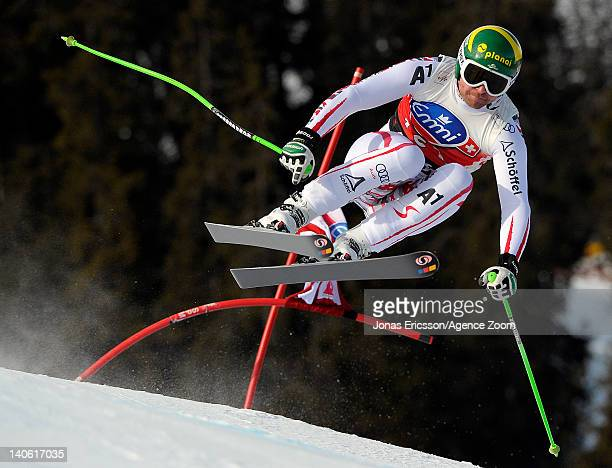 Klaus Kroell of Austria takes 1st place during the Audi FIS Alpine Ski World Cup Men's Downhill on March 3, 2012 in Kvitfjell, Norway.