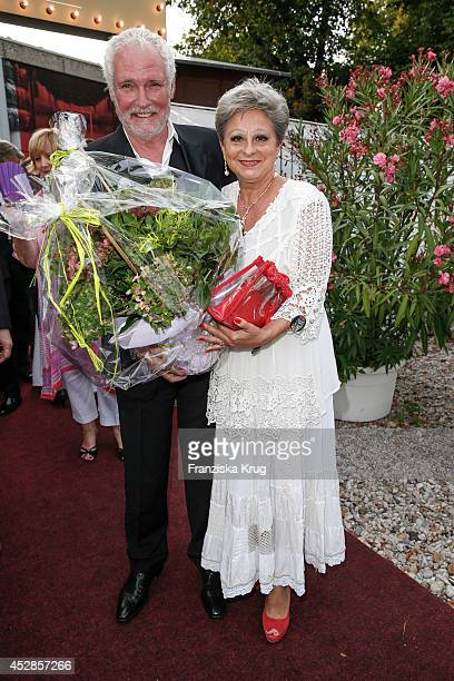 Klaus Lenk and Dagmar Frederic attend Udo Walz's 70th Birthday celebration at Bar jeder Vernunft on July 28 2014 in Berlin Germany