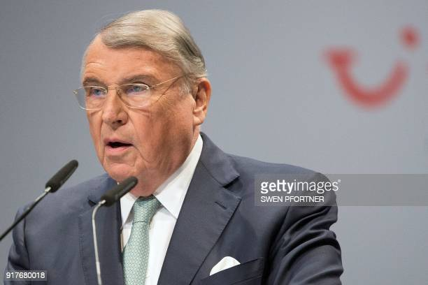 Klaus Mangold Chairman of the board of German tourism giant TUI speaks during the annual shareholders meeting on February 13 2018 in the northern...