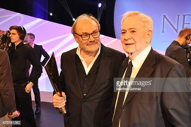 Klaus Maria Brandauer and Istvan Szabo pose for a photograph on stage during the Nestroy Award 2014 at Wiener Stadthalle on November 10 2014 in...