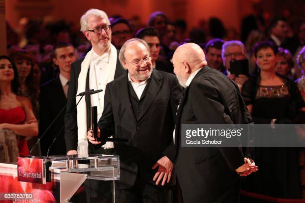 Klaus Maria Brandauer and Rolf Hoppe during the Semper Opera Ball 2017 at Semperoper on February 3 2017 in Dresden Germany