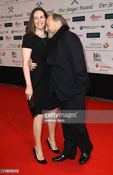 Klaus Maria Brandauer and wife Natalie Krenn Brandauer attend the Steiger Award 2011 at the Jahrhunderhalle on March 12 2011 in Bochum Germany
