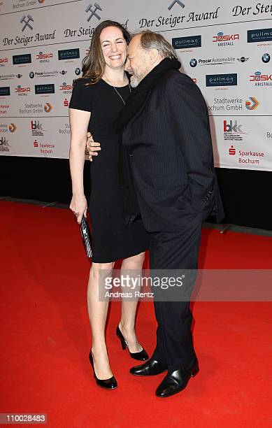 Klaus Maria Brandauer and wife Natalie Krenn Brandauer attend the Steiger Award 2011 at the Jahrhunderthalle on March 12 2011 in Bochum Germany