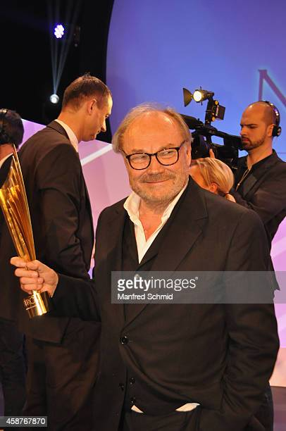 Klaus Maria Brandauer poses for a photograph on stage during the Nestroy Award 2014 at Wiener Stadthalle on November 10, 2014 in Vienna, Austria.