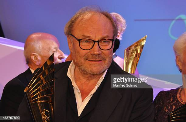 Klaus Maria Brandauer poses for a photograph on stage during the Nestroy Award 2014 at Wiener Stadthalle on November 10 2014 in Vienna Austria