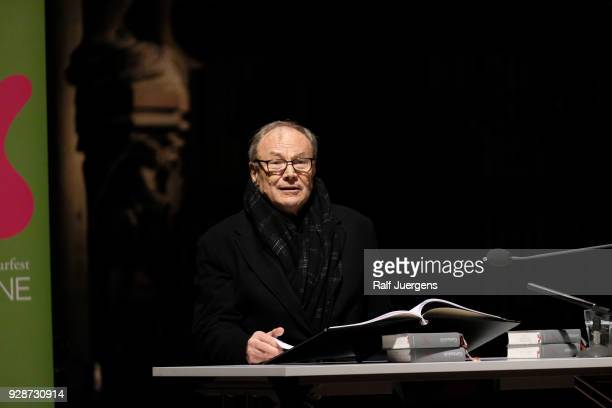 Klaus Maria Brandauer reads Fyodor Dostoyevsky's 'Grand Inquisitor' as part of the lit.COLOGNE festival at Cologne Cathedral on March 7, 2018 in...