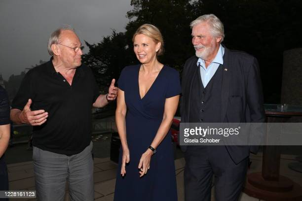 """Klaus Maria Brandauer, Veronica Ferres and Peter Simonischek during the reading of """"Jedermann"""" according to the 100th anniversary of the Salzburg..."""