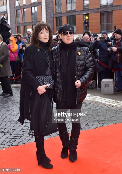 Klaus Meine and Gabi Meine during the memorial service for Jan Fedder at Hamburger Michel on January 14 2020 in Hamburg Germany German actor Jan...