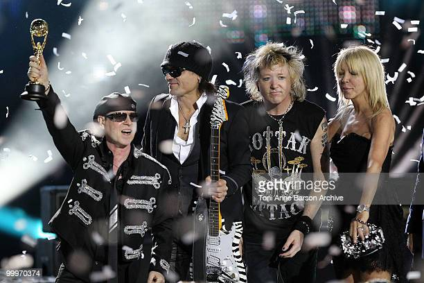 Klaus Meine Matthias Jabs James Kottak and Melissa Corken perform on stage during the World Music Awards 2010 at the Sporting Club on May 18 2010 in...