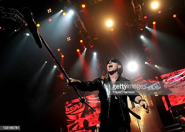 Klaus Meine of the Scorpions performs at The Nokia Theatre at LA Live on July 31 2010 in Los Angeles California