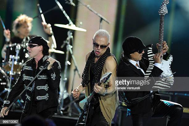 Klaus Meine Rudolf Maciwoda and Matthias Jabs perform on stage during the World Music Awards 2010 at the Sporting Club on May 18 2010 in Monte Carlo...