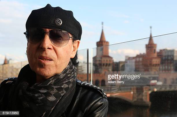 Klaus Meine singer of the band Scorpions poses in front of the Oberbaumbruecke during the opening of 'The Wall Museum East Side Gallery' on April 6...