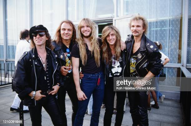 Klaus Meined and Matthias Japs of Scorpions, Zakk Wylde of Ozzy Osbourne's band, Dave Sabo of Skid Row and Rudolf Schenker of Scorpions at a press...