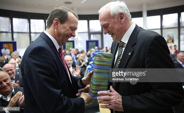 Klaus Meiser and Dr HansGeorg Moldenhauer during the awarding ceremony of HermannNeubergerAward on April 22 2016 in Saarbruecken Germany