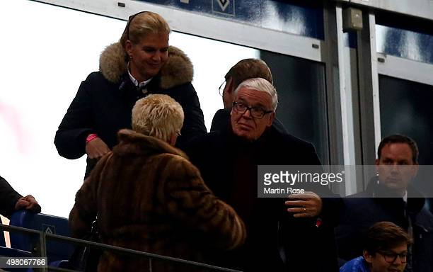 Klaus Michael Kuehne, CEo of Kuehne&Nagel logistics attends the Bundesliga match between Hamburger SV and Borussia Dortmund at Volksparkstadion on...