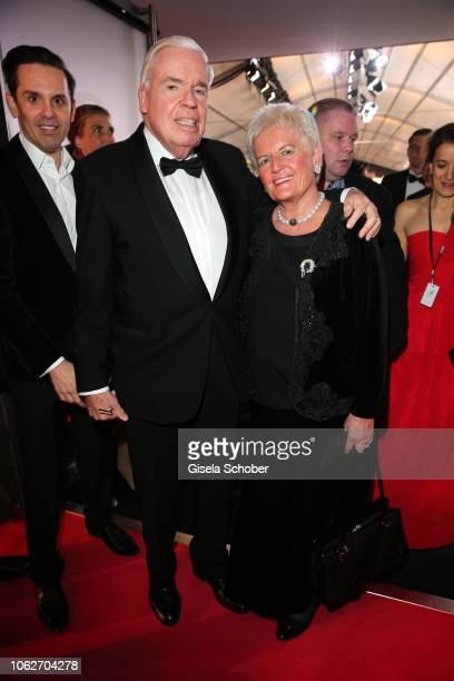 Klaus Michael Kuehne, Kuehne & Nagel, and his wife Christine Kuehne during the Bambi Awards 2018 Arrivals at Stage Theater on November 16, 2018 in...