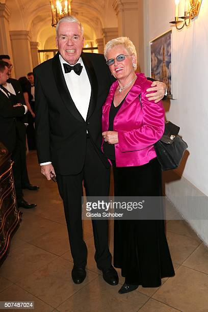 Klaus Michael Kuehne, Kuehne & Nagel, and his wife during the Semper Opera Ball 2016 reception at Taschenbergpalais Kempinski on January 29, 2016 in...