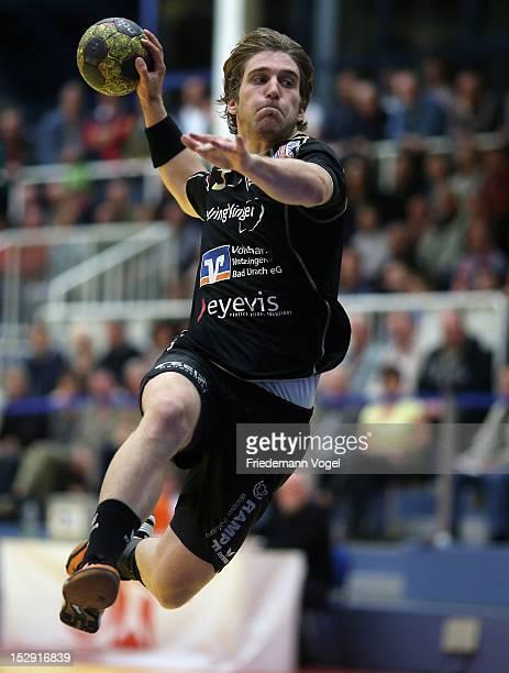 Klaus Schuldt of Neuhausen runs with the ball during the DKB Handball Bundesliga match between TUSEM Essen and Fueches Berlin at the Sportpark Am...