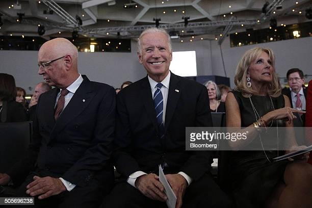 Klaus Schwab chairman of the World Economic Forum left and US Vice President Joseph Joe Biden center attend a plenary session ahead of the World...