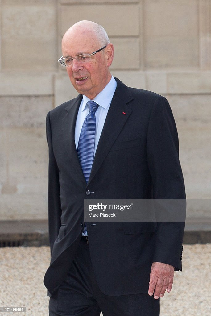 Klaus Schwab, Executive Chairman of the World Economic Forum, arrives to attend a dinner at Elysee Palace on June 25, 2013 in Paris, France.