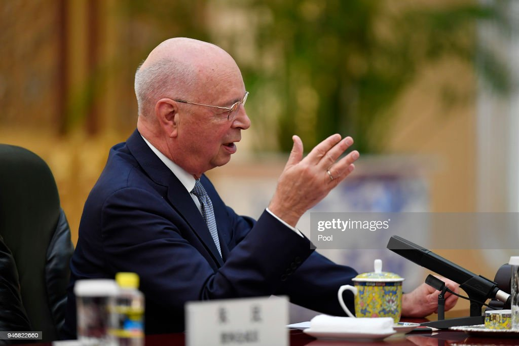 Chinese President Xi Jinping Meets With Klaus Schwab, Founder and Executive Chairman of the World Economic Forum : News Photo