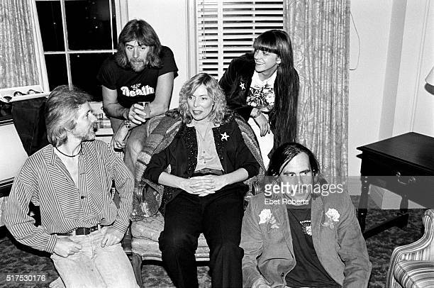 Klaus Voormann John Mayall Joni Mitchell photographer/editor Debby Chesher and Commander Cody during the promotion for the 'Starart' book that...