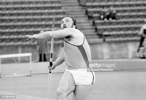 Klaus Wolfermann of West Germany throwing the javelin, circa 1973.