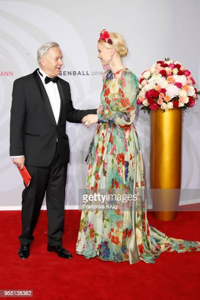 Klaus Wowereit and Franziska Knuppe attend the Rosenball charity event at Hotel Intercontinental on May 5 2018 in Berlin Germany