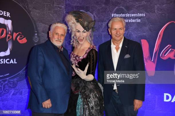 Klaus Wowereit and his boyfriend Joern Kubicki attend the musical premiere of 'Tanz der Vampire' at Theater des Westens on October 21, 2018 in...