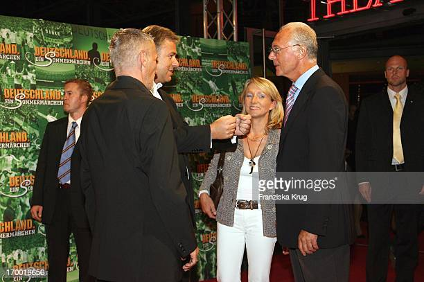 """Klaus Wowereit And His friend Jörn Kubicki With Franz Beckenbauer and his wife Heidrun In The Cinema Premiere Of Films From S. Wortmann """"Germany A..."""