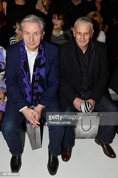 Klaus Wowereit and Joern Kubicki attend the Guido Maria Kretschmer show during the Mercedes-Benz Fashion Week Berlin Autumn/Winter 2015/16 at...