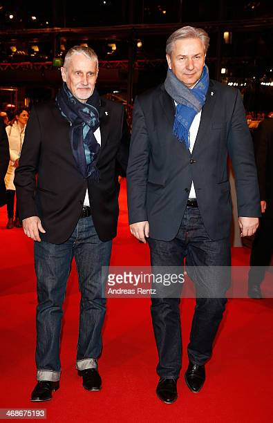 Klaus Wowereit and Joern Kubicki attend the 'Praia do futuro' premiere during 64th Berlinale International Film Festival at Berlinale Palast on...