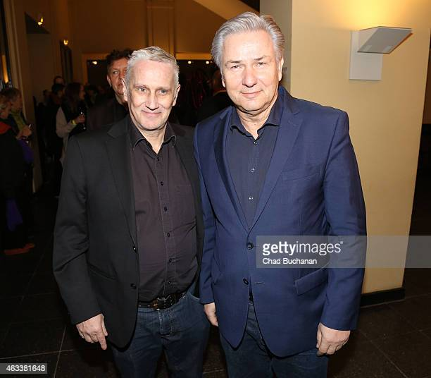 Klaus Wowereit and Joern Kubicki attend the Teddy Award 2015 during the 65th Berlinale International Film Festival at Komische Oper on February 13,...