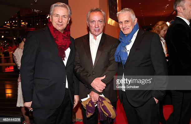 Klaus Wowereit Udo Kier and Joern Kubicki attend the Closing Ceremony of the 65th Berlinale International Film Festival at Berlinale Palace on...