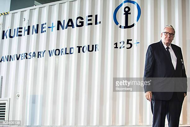 Klaus-Michael Kuhne, honorary chairman and majority owner of Kuhne + Nagel International AG, stands during the opening of the company's new logistics...