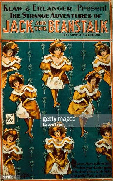 Klaw & Erlanger Present The Strange Adventures of Jack and the Beanstalk. Illustration shows a chorus line of Can Can dancers Circa 1890.