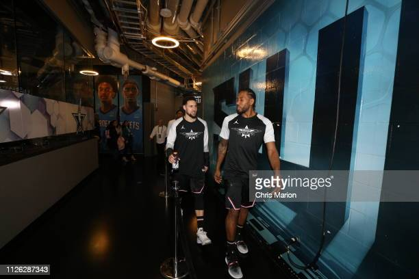 Klay Thompson and Kawhi Leonard of Team LeBron look on during the 2019 NBA AllStar Game on February 17 2019 at the Spectrum Center in Charlotte North...