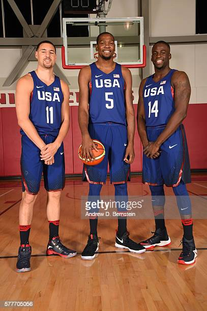 Klay Thompson Kevin Durant and Draymond Green of the USA Basketball Mens National Team pose for a photo on July 19 2016 at Mendenhall Center on the...